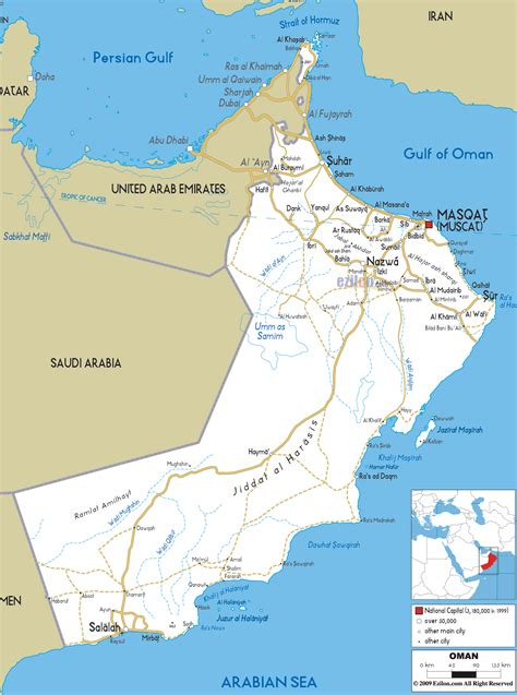 road map  oman ezilon maps
