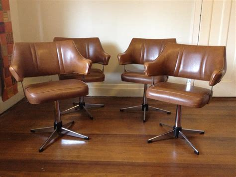vintage retro swivel vinyl and chrome kitchen chairs 60s