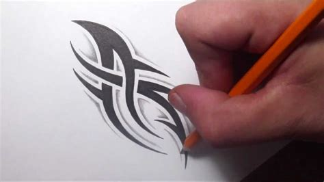 drawing  simple spiky tribal tattoo design   shading youtube