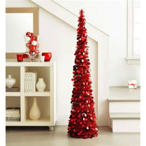 5 ft collapsible tinsel tree pop up slim decorative tree