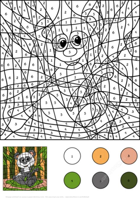 panda color  number  printable coloring pages