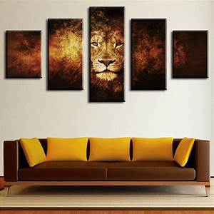 5 piece lion modern home wall decor canvas picture art hd With wall decor paintings
