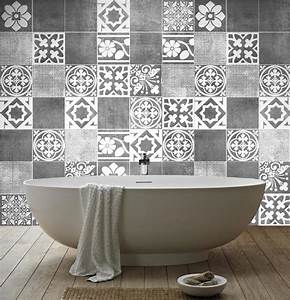 Grey bathroom tile stickers house decor ideas for Carrelage adhesif salle de bain avec deco avec led