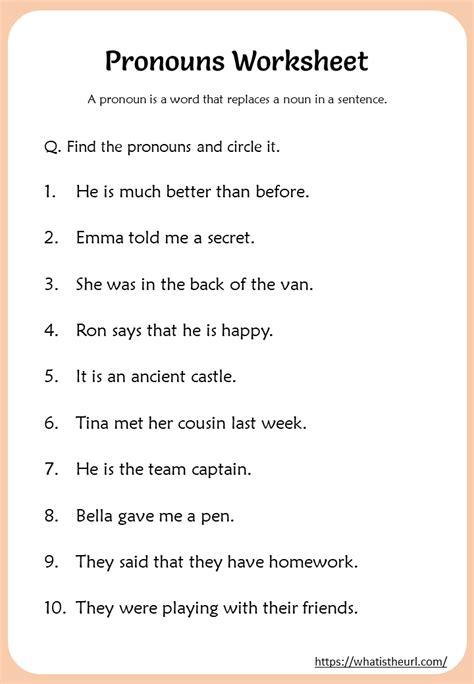 pronouns worksheet   grade  home teacher