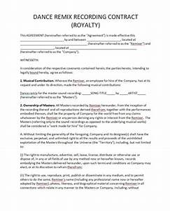 royalty agreement contract free printable documents With dance contract template