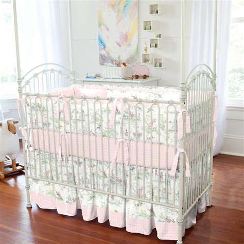 pink over the moon toile 3 piece crib bedding set
