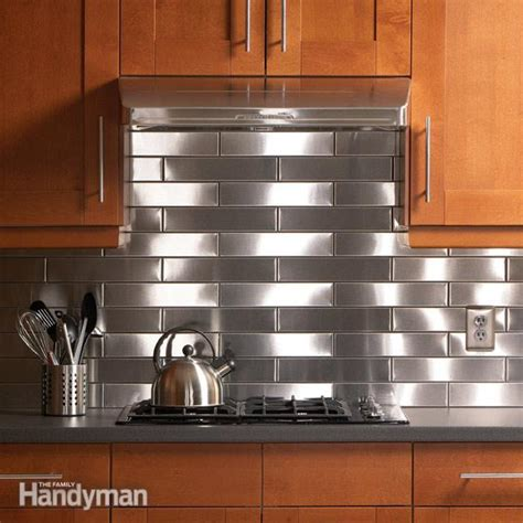 metal tiles for backsplash kitchen stainless steel kitchen backsplash the family handyman 9154