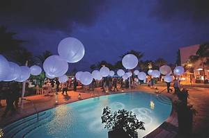 Reception Décor Photos - Paper Lanterns over Pool - Inside