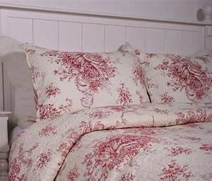 Illustration, Of, Red, Toile, Bedding, Design