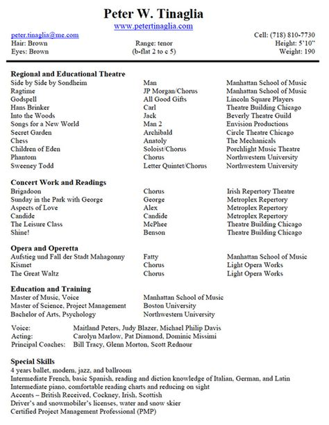 theatre resumes musical theater resume best template collection