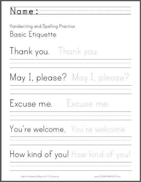 basic etiquette handwriting  spelling worksheet
