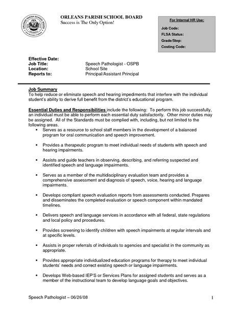 sle speech pathology resume sle cover letter for