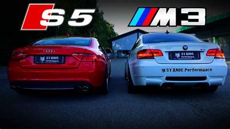 Audi S5 Vs Bmw M3 by Audi S5 Vs Bmw M3 E92 V8 Sound Battle S5 Capristo Vs M3