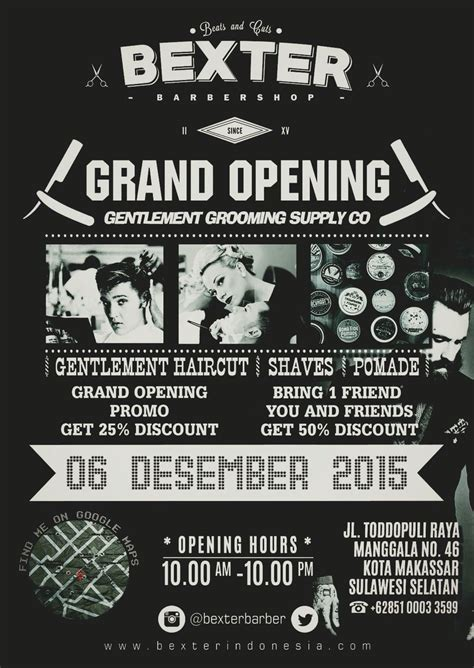 vintage poster barbershop grand opening makassar indonesia grand opening
