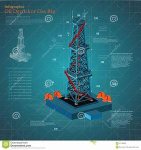 Oil Derrick Tower Or Gas Rig Infographic On Blue Scheme