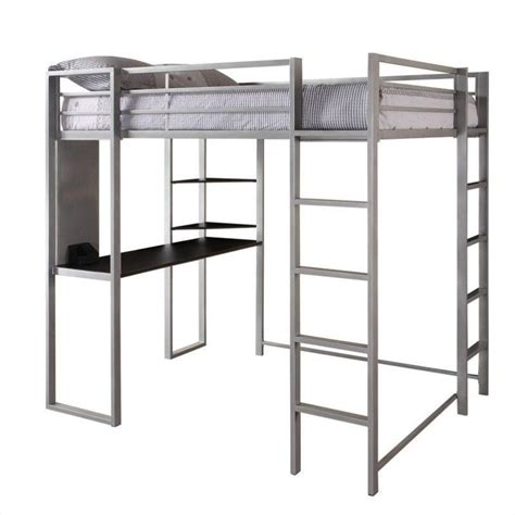 metal bunk bed with desk metal full loft bed in silver with desk 5457096