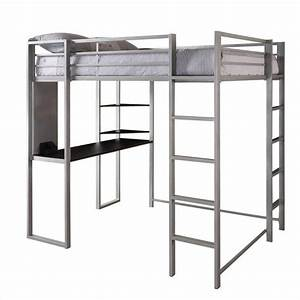 Metal Full Loft Bed in Silver with Desk - 5457096