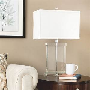 Modern table lamp white fabric shade crystal base accent for White lamp shade for modern room