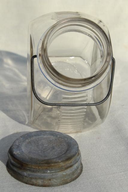 1930s vintage kitchen canister, old glass candy jar w