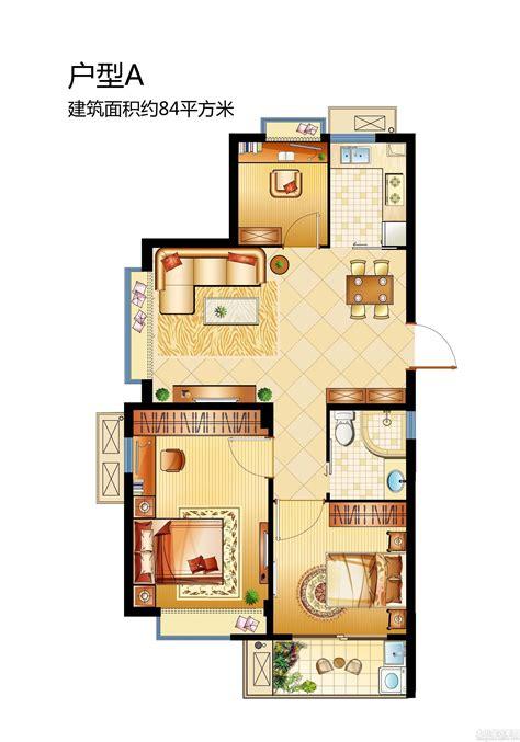 84平米三室一厅户型平面图_土巴兔装修效果图