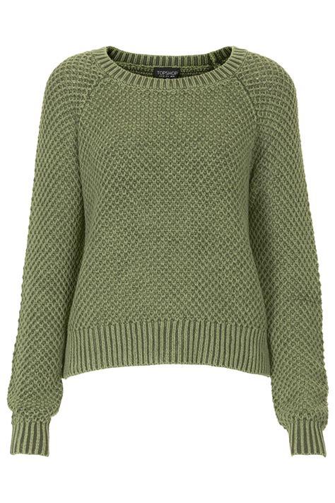 wash sweater topshop acid wash sweater in green khaki lyst
