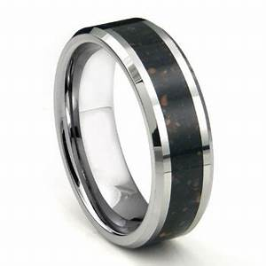 tungsten carbide black lava riverstone inlay wedding band ring With inlay wedding rings