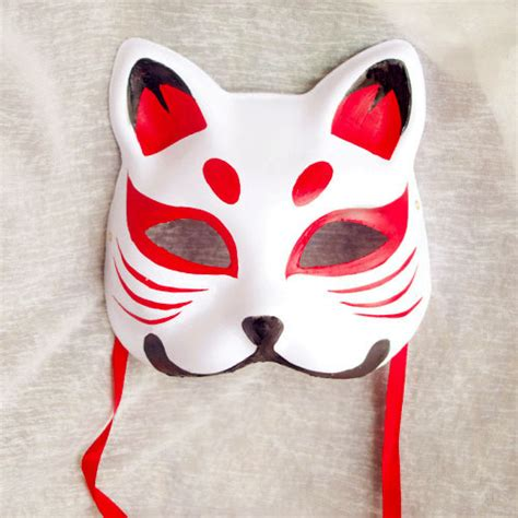 face hand painted red pattern japanese fox mask