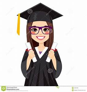 Brunette Graduation Girl Stock Vector - Image: 49987960