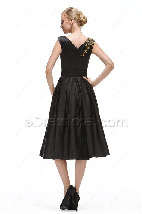 tie waist a line dress modest black cocktail dress tea length with golden embroidery