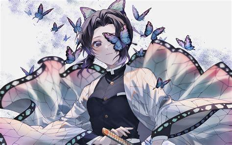 wallpapers shinobu kochou butterflies kimetsu