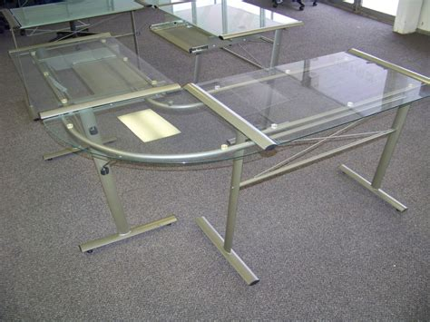 glass top l shaped desk l shaped glass top desk modern glass desks for work