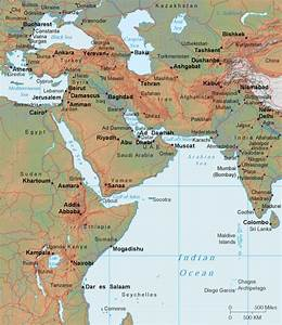 Southwest Asia Map - Relief Map of Southwestern Asia