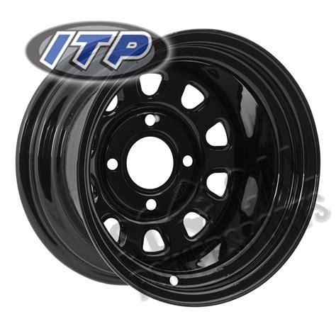 itp delta steel wheel   black  honda trxte