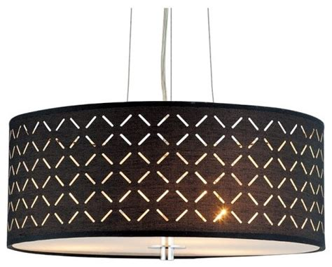 contemporary laser cut pattern black drum fabric shade