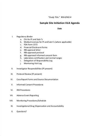 sample visit agenda  sample  format