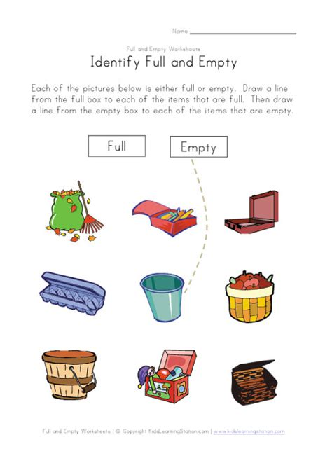 Full Empty Matching Worksheet  Places To Visit  Pinterest  Worksheets, Speech Pathology And