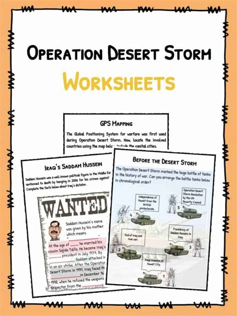 operation desert storm facts worksheets  kids