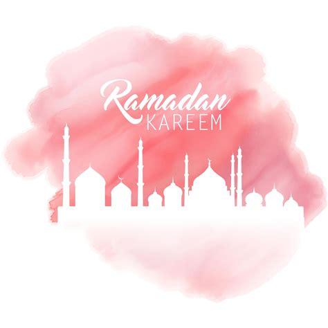 painting  pink color ramadan kareem mosque background