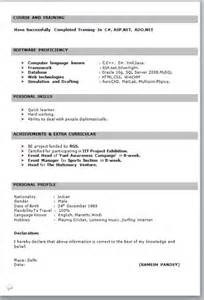 New Format Of Resume For Freshers by It Fresher Resume Format In Word
