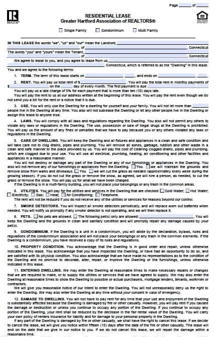 connecticut residential lease agreement  template