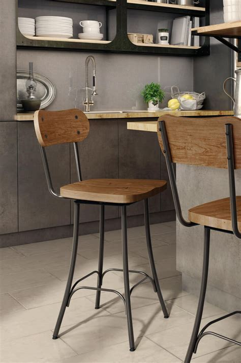 Amisco Bean Swivel Stool w/ Wood Seat & Backrest   Free