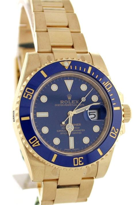 ROLEX Submariner Blue Dial Gold and Steel Watch 116618LB ...