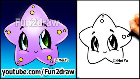 easy drawing tutorials   draw  cute starfish