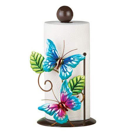 blue butterfly kitchen countertop metal paper towel holder stand walmartcom