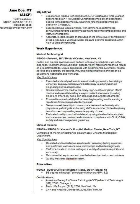 Sle Resume For Technologist by Technologist Cv R 233 Sum 233 Exle Cv Template Master
