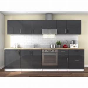 obi cuisine complete l 3m laque gris achat vente With photo de meuble de cuisine 3 cuisine en chene laque grise meubles lebreton