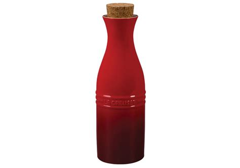 le creuset stoneware  ml carafe  cork cherry red cutlery