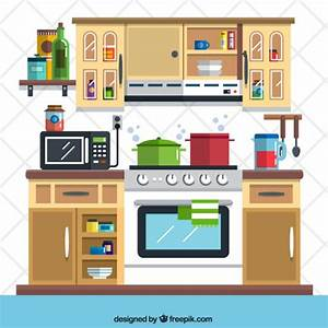 Flat kitchen illustration Vector | Free Download
