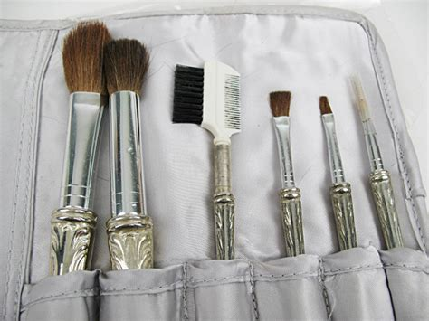 vintage makeup brushes  silver plated handles cs