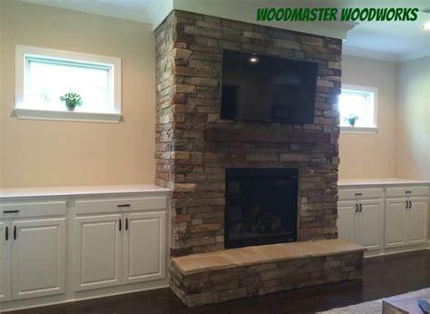 Custom Built Cabinets Beside Stone Fireplace Yelp